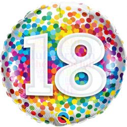 18 Rainbow Confetti Szülinapi Fólia Lufi