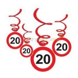 20-as Sebességkorlátozó Szülinapi Függődekoráció - 6 db-os