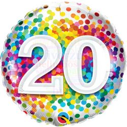 20 Rainbow Confetti Szülinapi Fólia Lufi