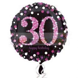 30-as Happy Birthday Pink Celebration Prismatic Szülinapi Fólia Lufi