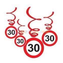 30-es Sebességkorlátozó Szülinapi Függődekoráció - 6 db-os