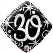 30-as Elegant Sparkles and Swirls Szülinapi Számos Fólia Lufi