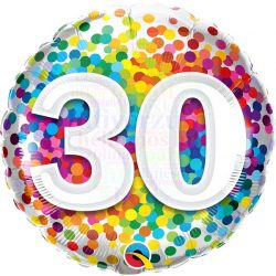 30 Rainbow Confetti Szülinapi Fólia Lufi