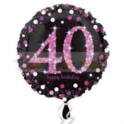 40-es Happy Birthday Pink Celebration Prismatic Szülinapi Fólia Lufi
