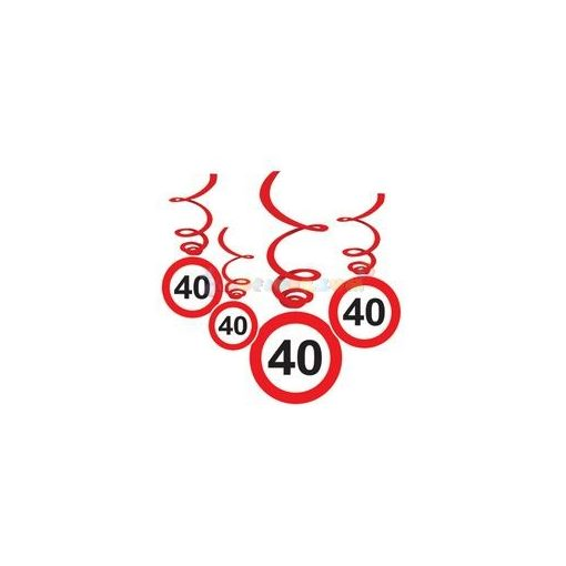 40-es Sebességkorlátozó Szülinapi Függődekoráció - 6 db-os