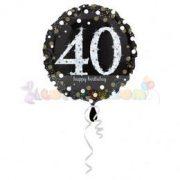 40-es Happy Birthday Sparkling Születésnapi Fólia Lufi