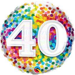 40 Rainbow Confetti Szülinapi Fólia Lufi