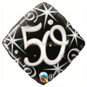 50-as Elegant Sparkles and Swirls Szülinapi Számos Fólia Lufi