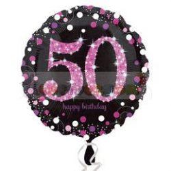 50-es Happy Birthday Pink Celebration Prismatic Szülinapi Fólia Lufi