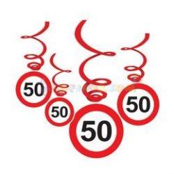 50-es Sebességkorlátozó Szülinapi Függődekoráció - 6 db-os