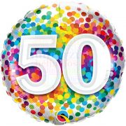50 Rainbow Confetti Szülinapi Fólia Lufi