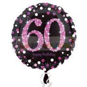 60-as Happy Birthday Pink Celebration Prismatic Szülinapi Fólia Lufi