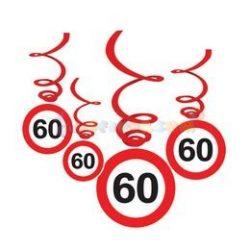 60-as Sebességkorlátozó Szülinapi Függődekoráció - 6 db-os