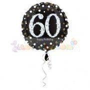 60-as Happy Birthday Sparkling Születésnapi Fólia Lufi