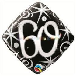 60-as Elegant Sparkles and Swirls Szülinapi Számos Fólia Lufi
