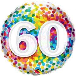 60 Rainbow Confetti Szülinapi Fólia Lufi