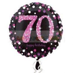 70-es Happy Birthday Pink Celebration Prismatic Szülinapi Fólia Lufi