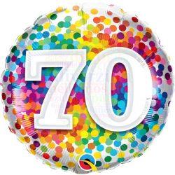 70 Rainbow Confetti Szülinapi Fólia Lufi