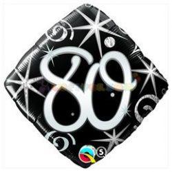 80-as Elegant Sparkles and Swirls Szülinapi Számos Fólia Lufi