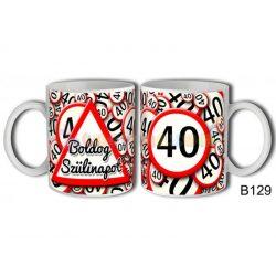 Boldog 40. Szülinapot sebességkorlátozó táblás bögre