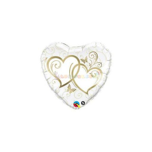 Entwined Hearts Arany Esküvői Szív Fólia Lufi 91 cm
