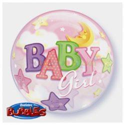 Baby Girl Hold és csillagok Bubble Léggömb Babaszületésre