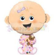 Kislány baba fólia lufi babaszületésre 97 cm
