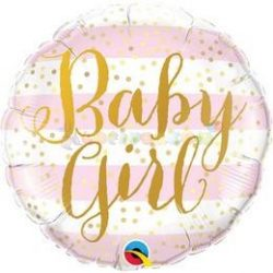 Baby Girl Pink Stripes Fólia Lufi Babaszületésre