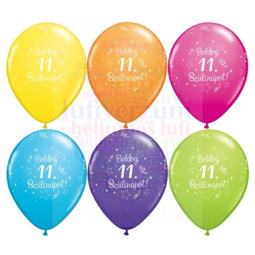 Boldog 11. születésnapot gumi lufi - 28 cm