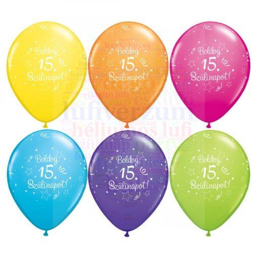 Boldog 15. születésnapot gumi lufi - 28 cm