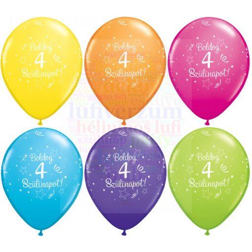 Boldog 4. születésnapot gumi lufi - 28 cm