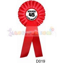 Boldog 45. Szülinapot! – Díjszalag – Születésnapi ajándék D019