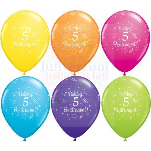 Boldog 5. születésnapot gumi lufi - 28 cm