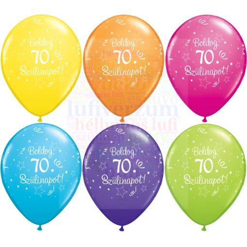 Boldog 70. születésnapot gumi lufi - 28 cm