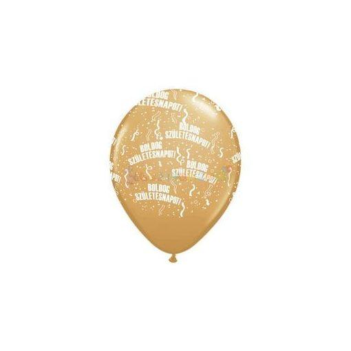 28 cm-es Boldog Születésnapot Arany Lufi  darabra
