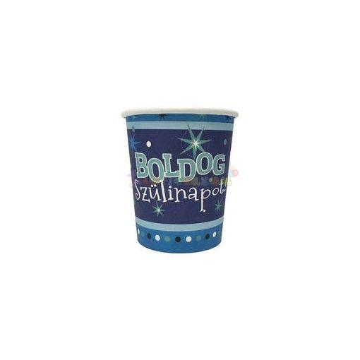 Boldog Szülinapot Kék Parti Pohár - 250 ml, 6 db-os