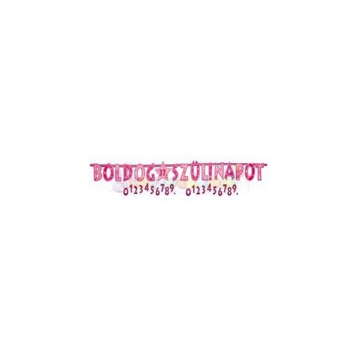 Boldog Szülinapot! Rózsaszín lányos Számozható Betűfüzér - 2,4 m