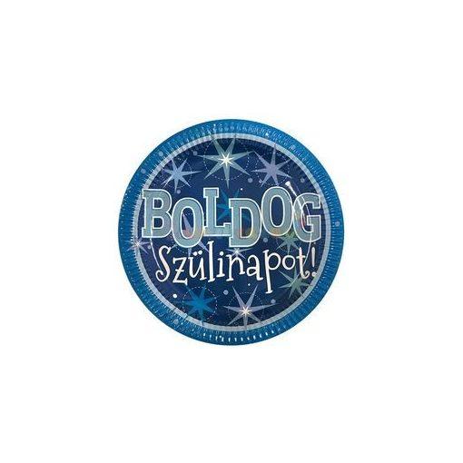 Boldog Szülinapot Kék Parti Tányér, 23 cm, 6 db-os