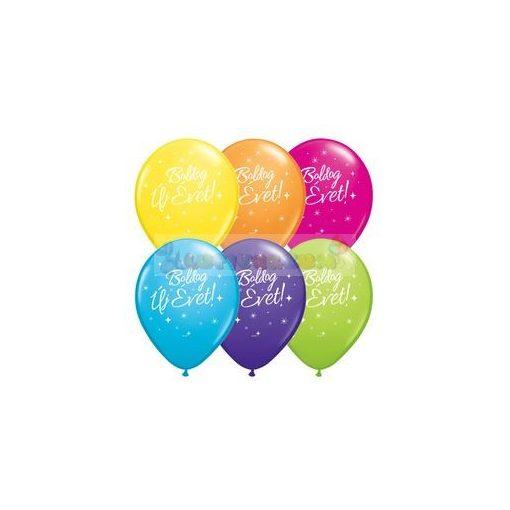 Boldog Új Évet feliratú színes Szilveszterléggömb - 28 cm