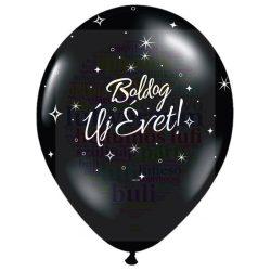 Boldog Új Évet feliratú fekete Szilveszterléggömb - 28 cm