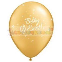 Boldog Új Évet feliratú arany Szilveszterléggömb - 28 cm