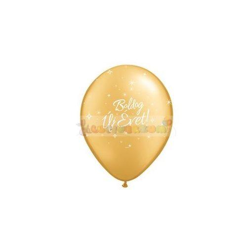 28 cm-es Boldog Új Évet feliratú arany Szilveszteri Léggömb darabra