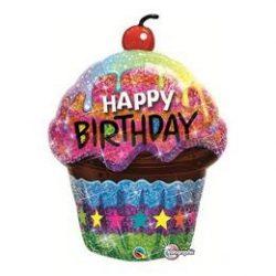 Születésnapi csillogó muffin fólia lufi