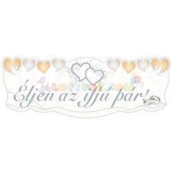 Éljen az ifjú pár! Mennyasszony-Vőlegény Arany Esküvői Banner - 90 cm x 30 cm