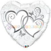 Entwined Hearts Silver Esküvői Szív Fólia Lufi 91 cm