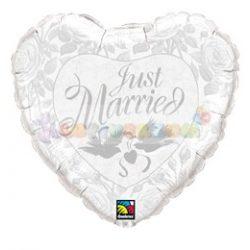 Just Married Pearl White és Silver Esküvői Fólia Lufi