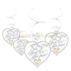 Éljen az ifjú pár! Szívek és Galambok Ezüst Esküvői Spirális Függő Dekoráció - 6 db-os