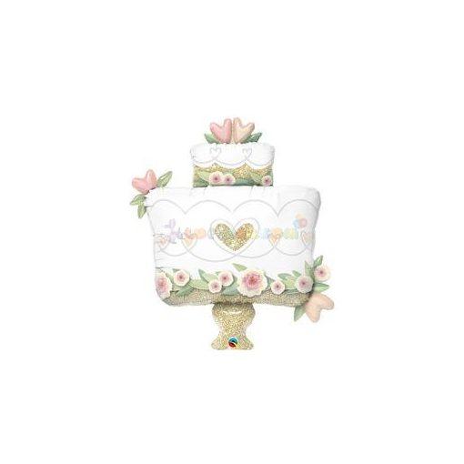 Esküvői arany torta fólia léggömb 104 cm