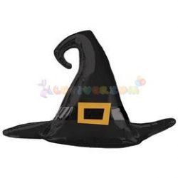 Fekete Boszorkány Kalap Super Shape Fólia Lufi Halloween-ra