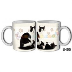Fekete-fehér macska – Cicás bögre